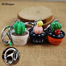 Lovely Simulation pot plant keychain Cute Resin Cactus keyring Green Succulent plant pendant Cell Phone Charm Bag Strap Decor