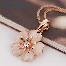 MOONROCY Free Shipping Jewelry Rose Gold Color Opal Crystal Necklace flower opal necklace For women gift