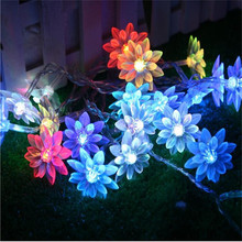 Christmas Fairy 2.5M 20 Lotus Flowers Led String Garland Light Flashing Christmas Wedding Holiday Party Home Decoration Newest