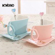 MOM'S HAND 200ML Heart Shaped Coffee Tea Ceramic Cup For Lovers Individuality Originality Mug With Wave Shape Dish(China)