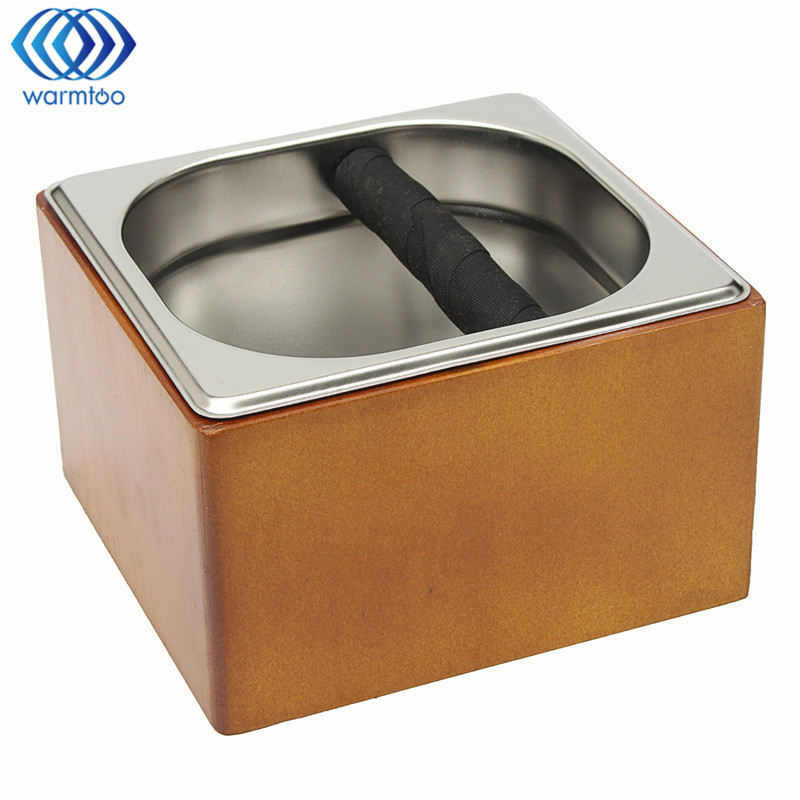 Coffee Residue Knock Box Espresso Stainless Steel Slag Bucket With Wooden Holder Coffee Make Tool Household<br>