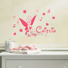 Personalized Girls Name Wall Decals for Kids Room Tinkerbell Vinyl Wall Stickers Home Decoration Decor Mural
