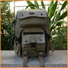 High Quality Army Green Rucksack Canvas Backpack Camera Bag for Nikon Canon Sony DSLR Camera
