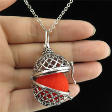 GLOWCAT B0Q666 Vintage Silver Copper Fragrance Essential Oils Round Diffuser Locket Necklace Women Jewelry