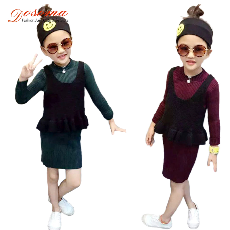 Toddler Girls Clothing Sets 2017 Spring Brand Lovely Children Long Sweater Dresses+Vest Two Pieces Suit Babys Clothes Girls Sets<br><br>Aliexpress