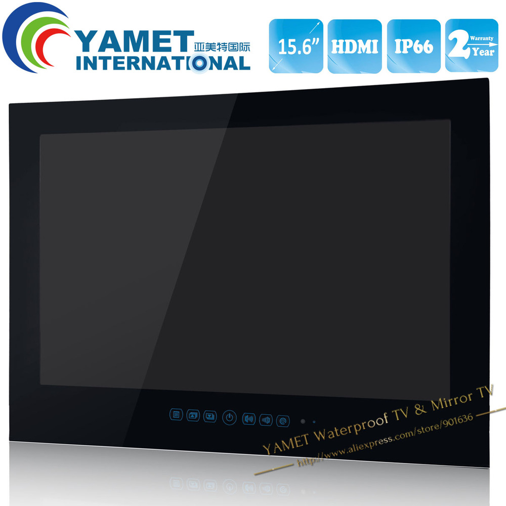 Free Shipping 15.6 inch IP66 bathroom LED TV waterproof LED TV - Black Color / White Color(China)