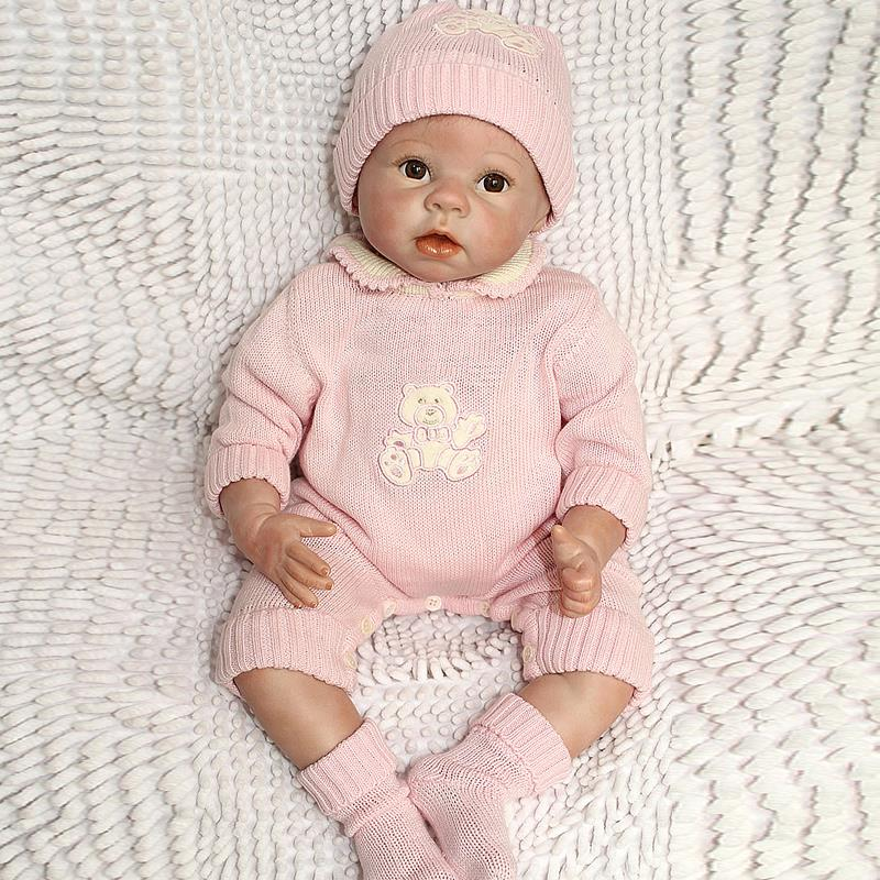 UCanaan 50-55CM Silicone Reborn Baby Doll Top Quality Handmade Soft Touch Body Vinyl Realistic Baby Doll With Pink Clothes<br><br>Aliexpress