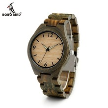 BOBO BIRD CdI18 Fluorescent Needles Green Sandalwood Band Men-sized Clock Fragrant Watch for Men with Gift Box