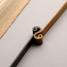 China Style TAI CHI Design Sculpted Natural Color Wooden Bookmark for Office and School Gradulation as luxury gift(China)