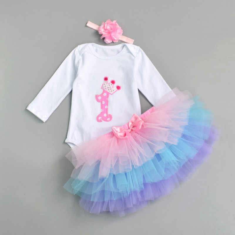 1st Birthday Tutu Outfits.Newborn 2019 Flower Party Clothes Set Baby Girl One Years First Birthday Tutu Outfits For Girls Tulle Toddler Baby Clothing Suit
