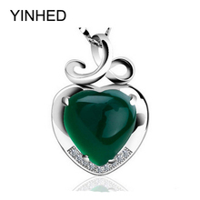 YINHED 925 Sterling Silver Necklace Natural Red & Green Crystal Heart Pendant Necklace for Women Love Gift of Valentines ZN042(China)