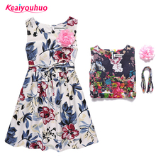 Children Evening Dress 2017 Casual Summer Style Girls Dresses Sleeveless Floral Printing Princess Dress Kids Clothes Party Dress