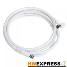 HWEXPRESS Wholesale 5 PCS White 2M 9.5mm 90 Degrees Male to F type Male Coaxial TV Satellite Antenna Cable