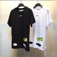 Best Quality 2017 Off White China Black Diagonal Spray Stripe Yellow Graphic Mirror Text Print Mens Top Short Sleeve T-shirt Tee