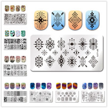 BORN PRETTY Stamping Template Rectangle Round Line Net Geometry Unicorn Trip Flowers Image Pattern Stamping Nail Polish Tools(China)