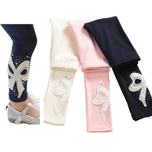 kids girls big bow beading cotton autumn spring princess casual skinny leggings children 3T to 10T blue pink beige leggings(China)