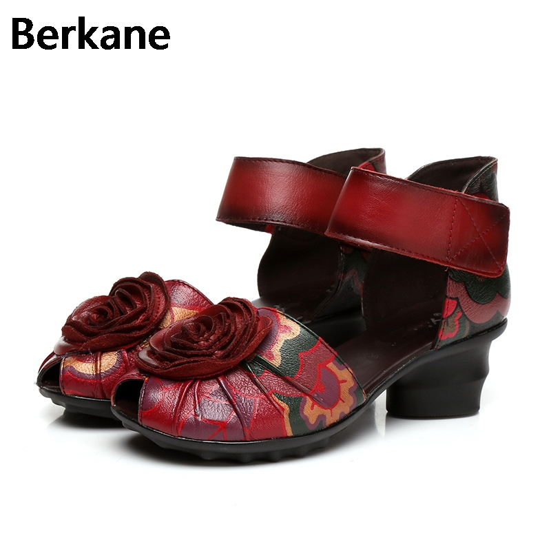 Gladiator Sandals Women Summer Beaches Flower 2017 High Heel Fashion Casual Toe Ankle Strap Ethnic Female Shoes Genuine Leather<br>