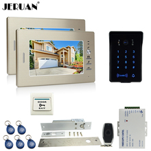 JERUAN luxury 7`` LCD video doorphone intercom system 2 monitor RFID waterproof Touch Key password keypad camera+remote control