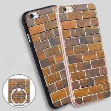 bricks Phone Ring Holder Soft TPU Silicone Case Cover for iPhone 4 4S 5C 5 SE 5S 6 6S 7 Plus