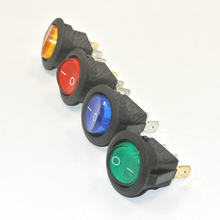 100pcs  Red green blue yellow LED Illuminated 12v Rocker Switch 20 Amp DC, Round Light 12 V Volt Kit Car