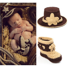 Crochet Baby Cowboy Hat and Boots Set in Brown Newborn Boy Photo Props Handmade Knitted Baby Hat and Booties H034(China)