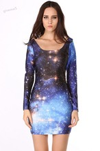 Hot Sale Women Sexy Personalized Long Sleeve Dress Galaxy Dress Digital Printing Sundress Dress 38