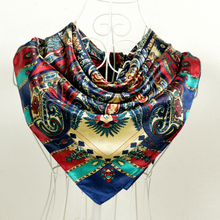 Bohemia Style Women Satin Big Square Silk Scarf 90*90cm Red Blue Multicolor Shawl Scarves 90*90cm Female Silk Scarf Printed(China)