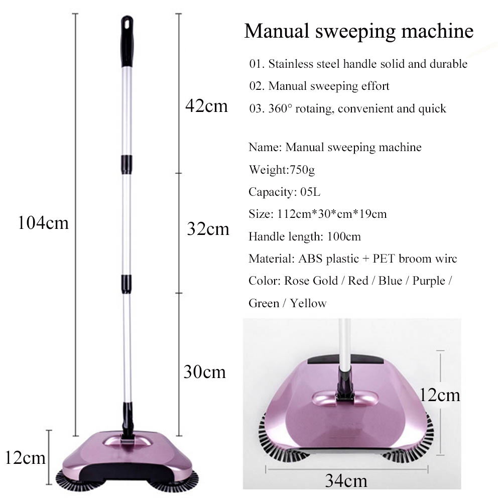 Blue PanlongHome 2018 New Lazy Household Cleaning Non-electrical Automatic Hand-moving Magic Broom Dustpan Combination