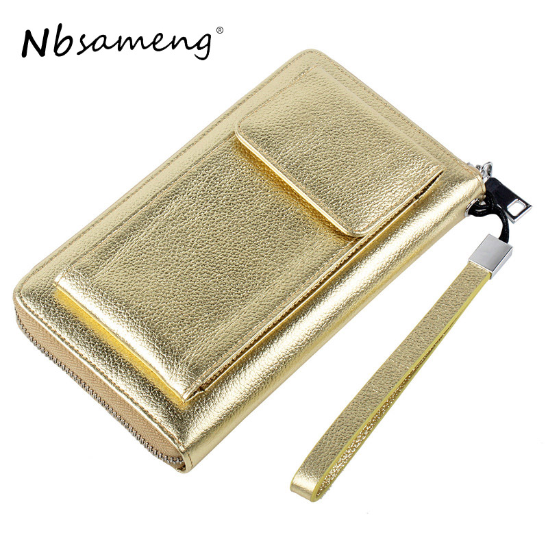 Women Cow Leather Clutch Wallet Ladies Purses Cell Phone Holder Long Large Capacity Purse Clutch Bag<br>