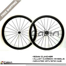 Free shipping 700C painting 50mm clincher rim Road bike 3K carbon bicycle wheelset with alloy brake surface carbon wheels