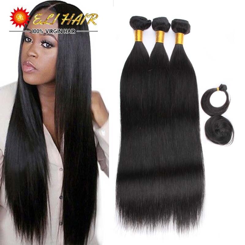 8A Grade Virgin Unprocessed Brazilian Human Hair Straight Weaving With Free Closure And Bang ELI Queen Hair 3 Bundles Deals<br><br>Aliexpress