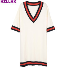 HZLLHX women simple V-neck red and black color stripes knit women dress Slim straight knit half sleeve runway price free ship