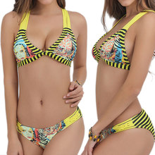 2017 Women Sexy Crochet Printed Bikini Swimsuit Push Up Swimwear Bra+Panties Set Beach Wear Bathing Suit shop BB55(China)