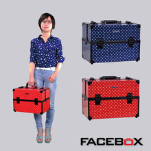 Facebox Aluminum Makeup Vanity Box Beauty Case Cosmetic Makeup Case for Ladies Two Color(China)