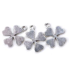 10pcs/lot 19mm x 10mm Four Leaf Clover Charms Antique Silver Tone for diy lucky charms necklace pendant jewelry accessories
