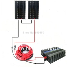 Large solar panel systerm for home :300W 24v/120v grid tie invertor 2*150w mono solar panel system# *