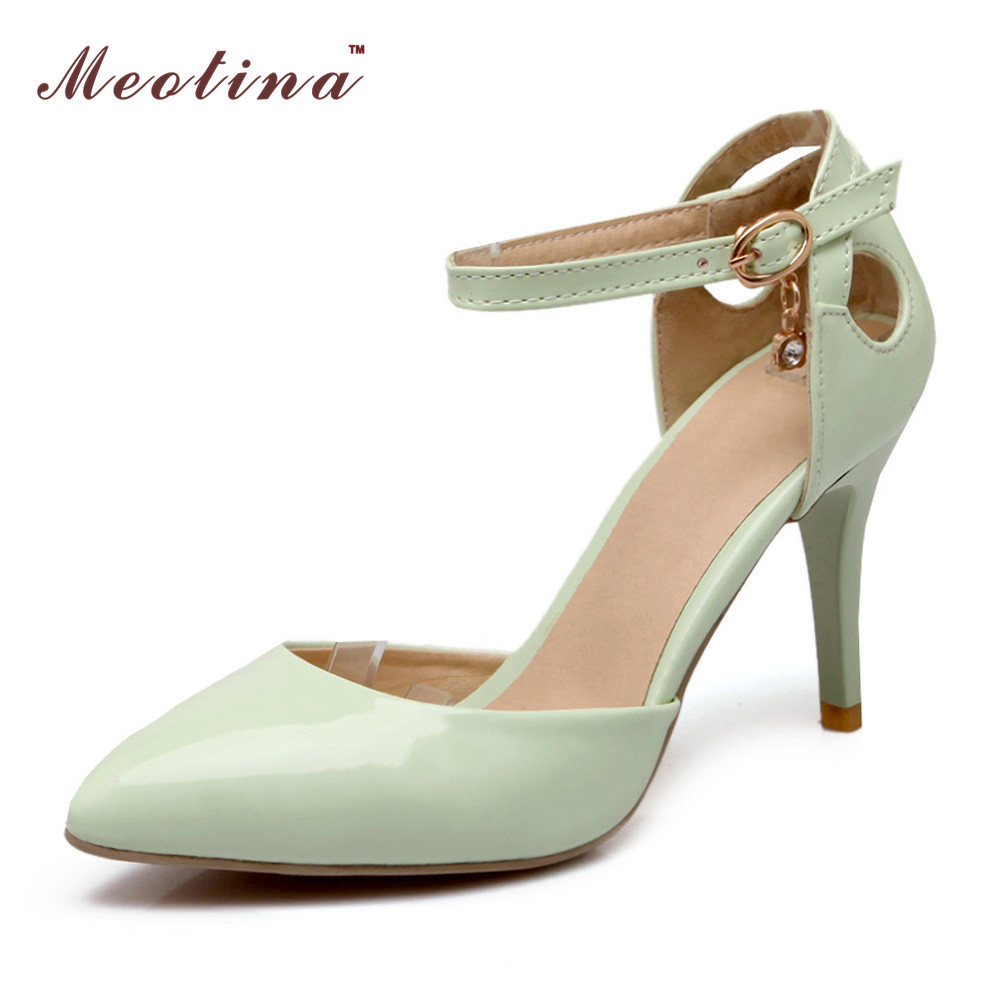 Meotina Two Piece Ankle Strap High Heels Patent Leather Pointed Toe Grace Party Shoes Pumps High Heels Ladies Shoes White Green <br><br>Aliexpress