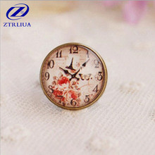 DIY Creative Personality High-quality Handmade Jewelry Imitation Watches And Clocks Gem Glass Large 18MM Rings   DR11