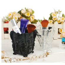 Plastic Retro Acrylic Makeup Cosmetic Storage Box Case Brush Pen Pencil Holder plastic table desk holding glass drop shipping(China)