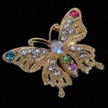 A40 Gold Plated Butterfly Style Crystal Rhinestone Brooch Pin Women Party Jewelry