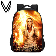 VEEVANV Brand 2017 Eminem Image Book Backpacks 3D PU Prints School Bagpacks Eminem Children Study Bags Casual Students Backpacks
