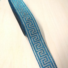 3.3cm 33mm 1-3/8' quality thick turquoise light beige silver filigree trim Greek Key National Jacquard Ribbon Embroidery Webbing(China)