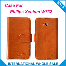 Newest Luxury Wallet Flip Leather Customize Protective Phone Cover Case For Philips Xenium W732 Card Holder Wallet Bags(China)