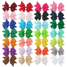 "28pcs 5"" Grosgrain Ribbon Swllowtail Bows With/ Without Clips Big Hair Bows Barrettes DIY Children's Hairpin(China)"