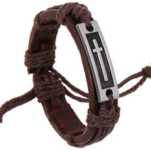 Fashion Men Women Unisex Vintage Brown PU Leather Bracelet With Alloy Metal Cross Pattern Cuff Charm Bangle(China)