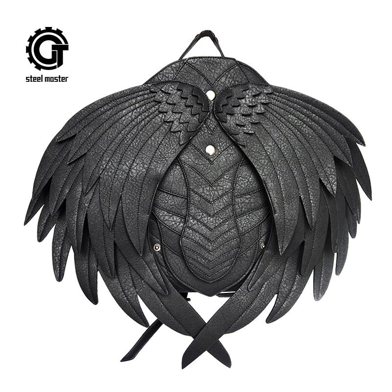 steelsir GTLY-SJB1626 Gothic Leather Wings Backpack Punk Unisex Women Men Black Swan Ghost Monster Vampire Retro Small Wing Bags<br>