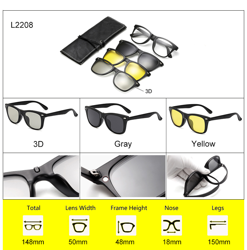 Ralferty 2018 Multi-Function Magnetic Polarized Clip On Sunglasses Men Women Ultra-Light TR90 3D Yellow Night Vision Glasses 6
