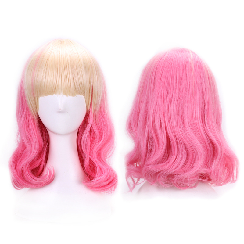 40cm Heat Resistance Synthetic Hair Blond Pink Ombre Wig Peruke Womens Lace Capless Short Wavy Wig Lovely Lolita Wigs Paula <br><br>Aliexpress