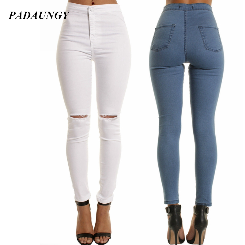 PADAUNGY Skinny High Waist Jeans Women Ankle Length Pencil Pants Slim Fit Pantalon Jean Femme Hole Jeggings Ladies Solid JeggingОдежда и ак�е��уары<br><br><br>Aliexpress