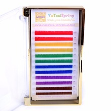0.07 Rainbow Eyelashes 6 colors colourful eyelash extensions red yellow green blue purple brown